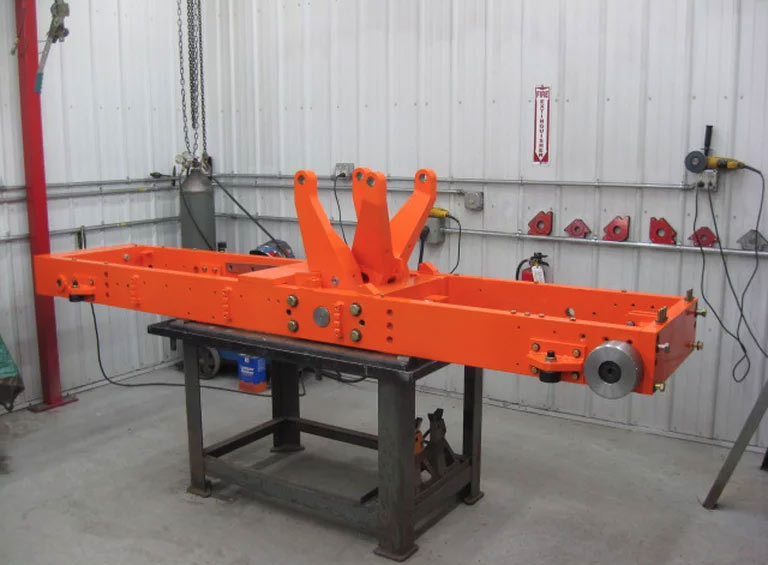 Assembly phase of a small 30-car train car positioner